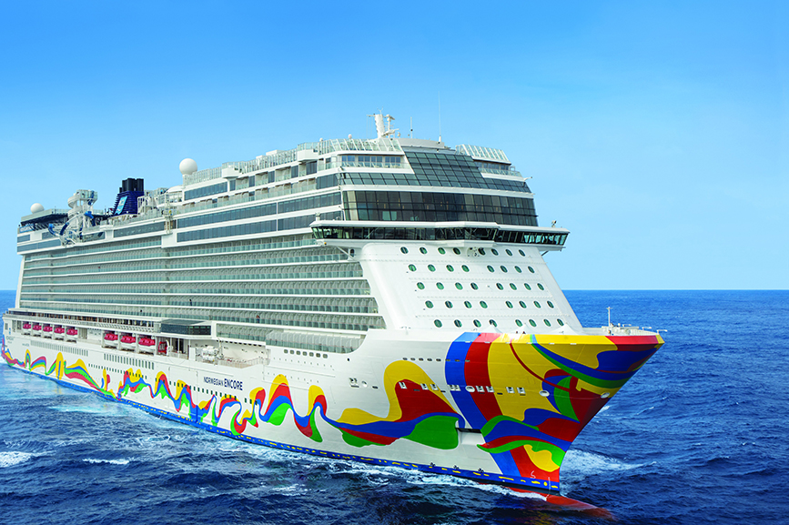 The Norwegian Encore, the newest vessel in the NCL fleet. (Image via NCL).