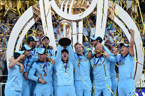 England lift their first men's Cricket World Cup trophy after the greatest final in history. (Photo by Stu Forster via Getty Images)