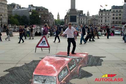 Stunt: Lewis helped raise awareness of potholes