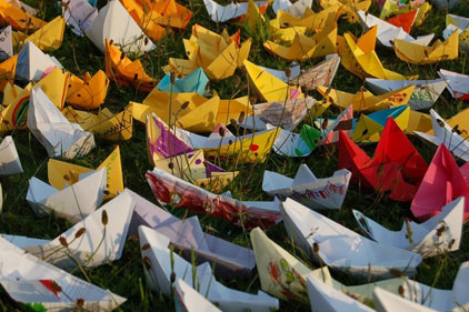 Origami boats: launched last year's festival