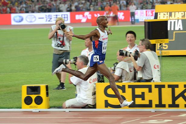 Sir Mo Farah wins gold at the 2015 World Championships in Beijing (image via mofarah.com)