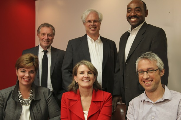 Top row (L to R): Richard Funess, Peter Finn, Ronald Roberts; Second row (L to R): Finn Partners' Alicia Young, Beth Seigenthaler Courtney, and Noah Finn