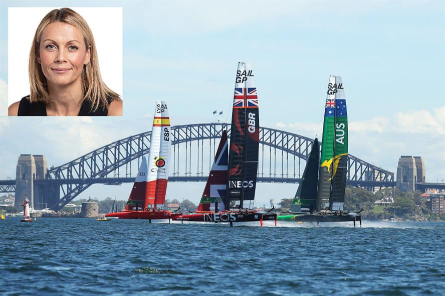 Fiona Morgan, inset, joins SailGP to run its purpose agenda (Last year's race at Sydney Harbour pictured – photo: Getty Images)