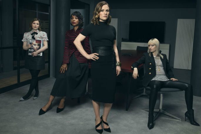 Stars (left to right): Melody (Rebecca Benson), Caroline (Sophie Okonedo), Robyn (Anna Paquin) and Eve (Lydia Wilson)