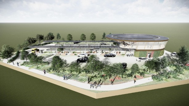 An artist's impression of a forecourt
