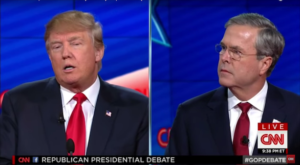 Jeb Bush and Donald Trump disagree on whether the businessman can insult his way to the presidency. (Image via CNN's YouTube page).