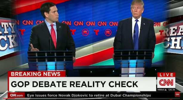 Marco Rubio goes after Donald Trump at Thursday night's Republican debate. (Image via CNN's YouTube page).
