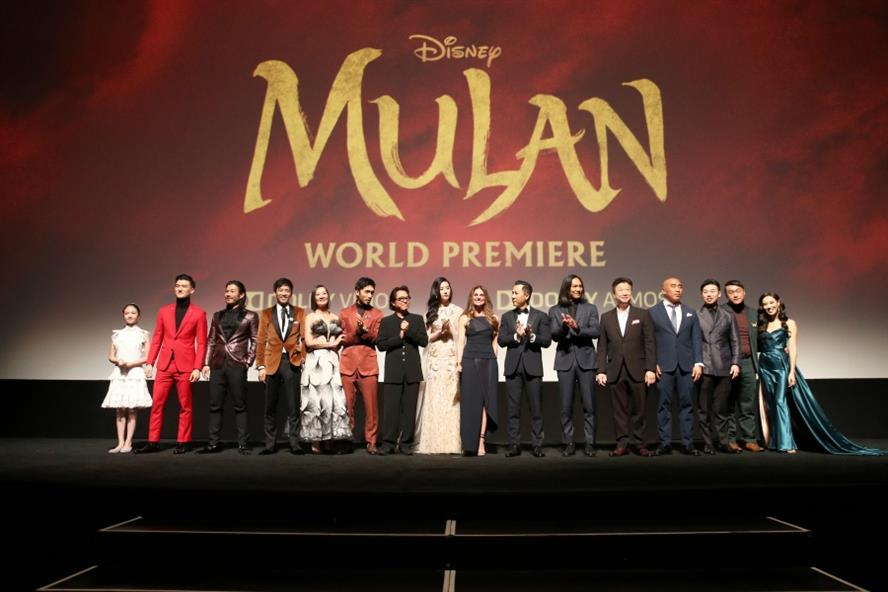 The cast and crew of 'Mulan' during the film's world premiere in Los Angeles (Getty Images)