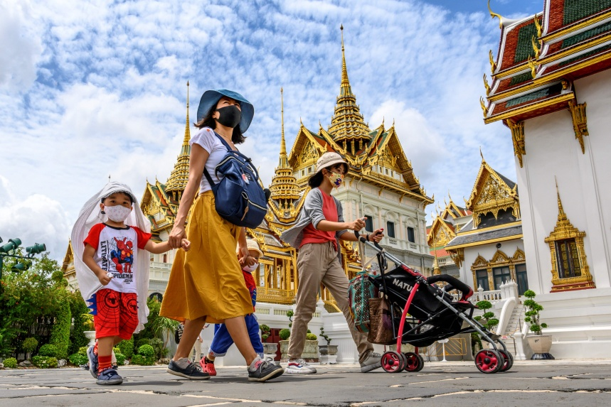 People visit the Grand Palace in Bangkok as it reopened for visitors following restrictions. Source: Getty Images