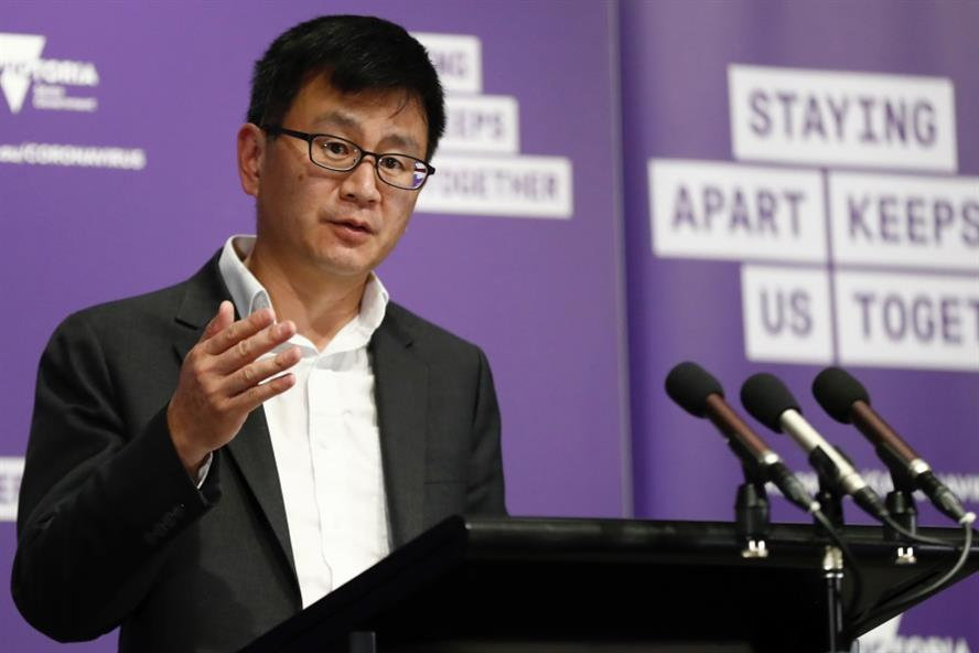 Victorian Deputy Health Officer Allen Chang speaks to the media during a daily briefing in Melbourne (Getty Images)