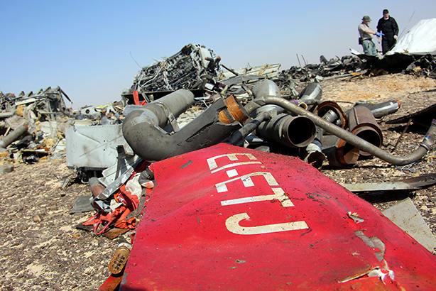 Air crash: Investigators inspect debris (Credit: Alaa El Kassas/Anadolu Agency/Getty Images)