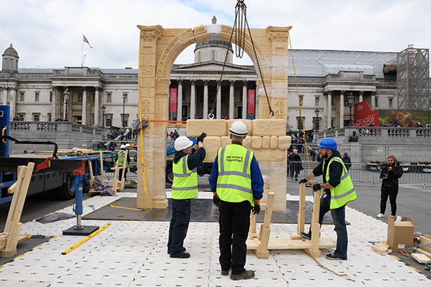 The arch being constructed in Trafalgar Square (Credit: LEON NEAL/AFP/Getty Images)