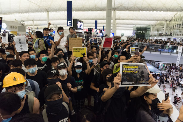 Anti-government protests reached Hong Kong airport this week (©GettyImages)
