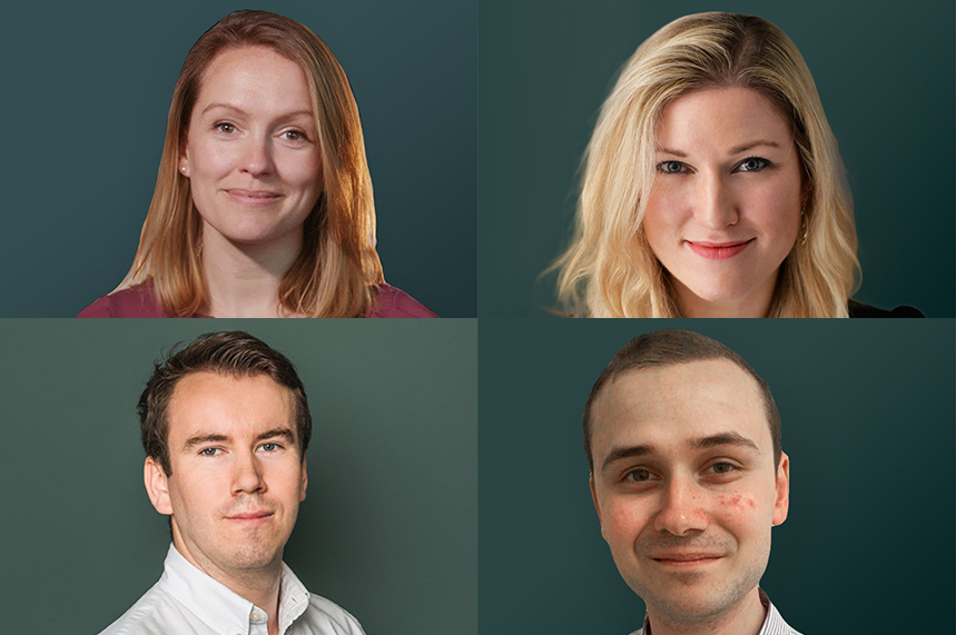 Clockwise from top left: Anna Wallace, Charlotte Lang, Jonathan Suart and Simon Harris