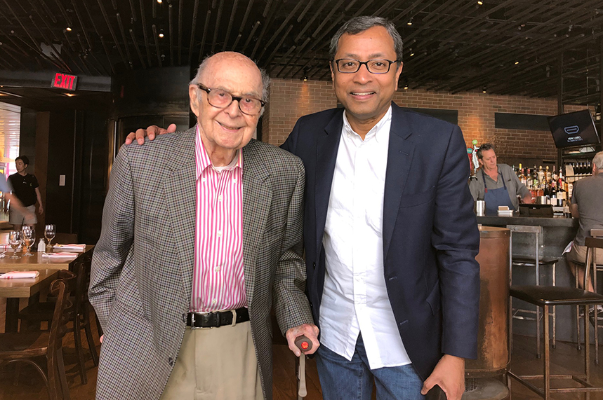 Harold Burson and Sunil John catch up at New York's Landmarc restaurant last summer to reflect on 16 years of successful affiliate and network partnerships