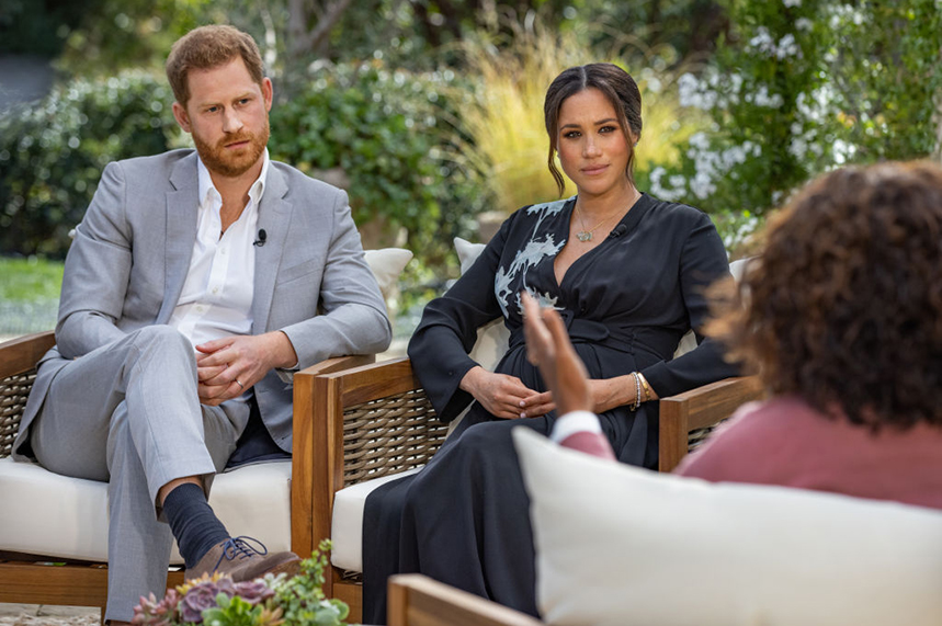 Harry and Meghan spoke to Oprah Winfrey in the US for the high-profile interview (image via Getty)