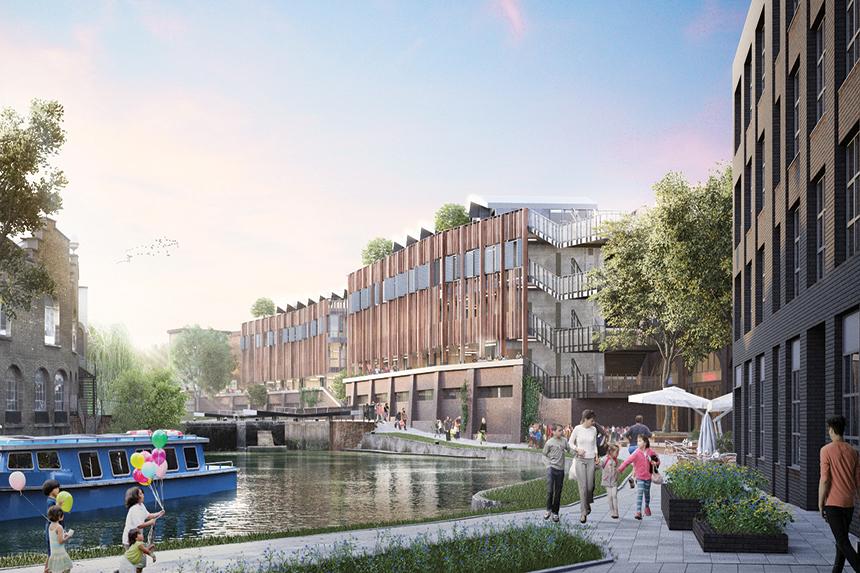 An artist's impression of the Hawley Wharf canal-side precinct
