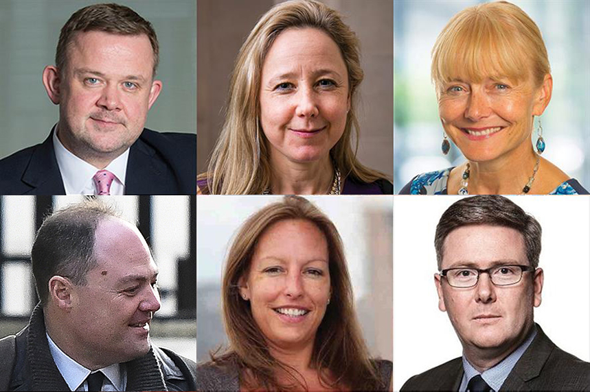 Clockwise from top left: Richard Stephenson, ex-Civil Aviation Authority; Caroline Murdoch, HS2; Aileen Thompson, HS2; Paul Vallance, Nuclear Decommissioning Authority; Julie King, HS2; and James Slack, Downing Street