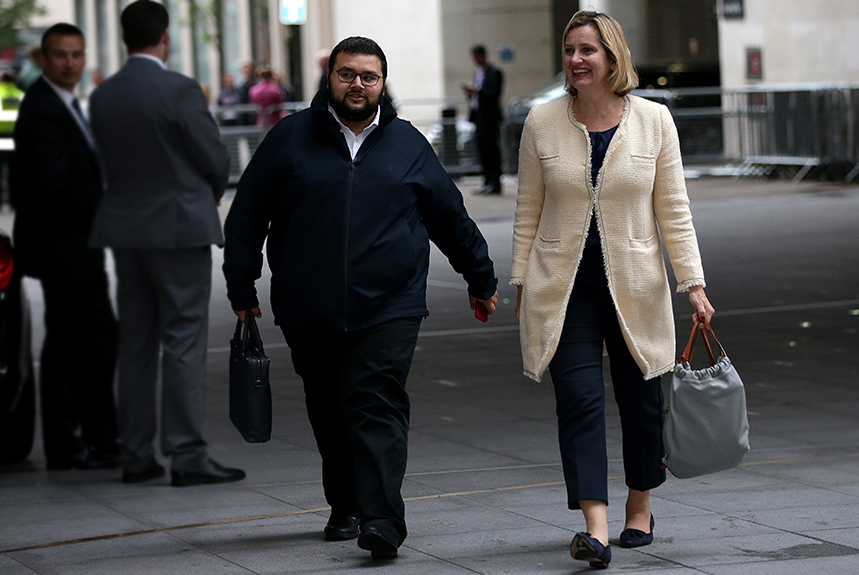 Jason Stein with former boss Amber Rudd. Photo: (Luke Dray/Getty Images)