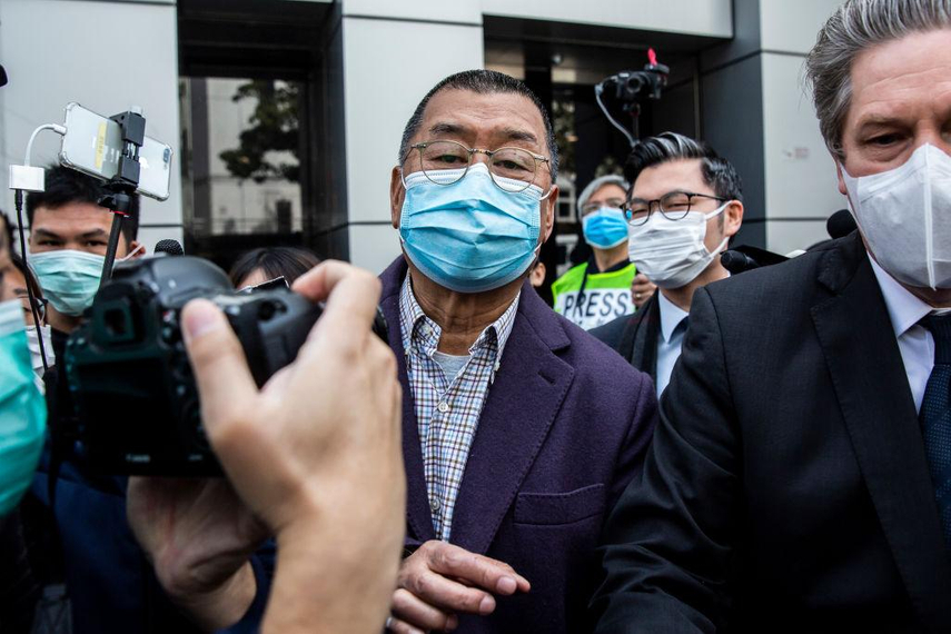 Jimmy Lai pictured on February 28 following an earlier arrest (Isaac Lawrence/AFP via Getty Images)