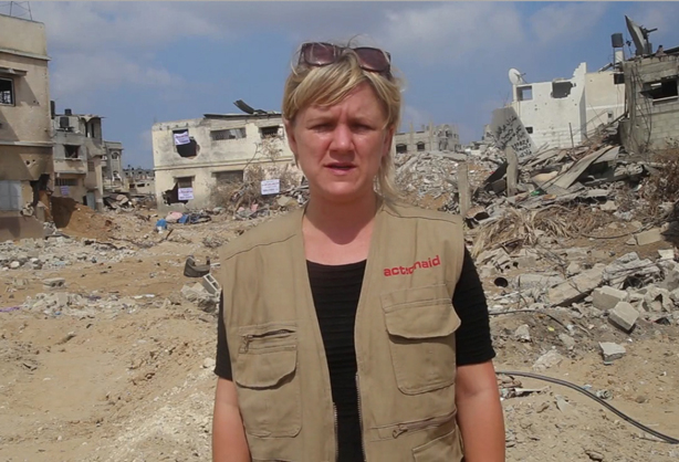 Jo Harrison on a previous assignment in Palestine (pic credit: ActionAid)