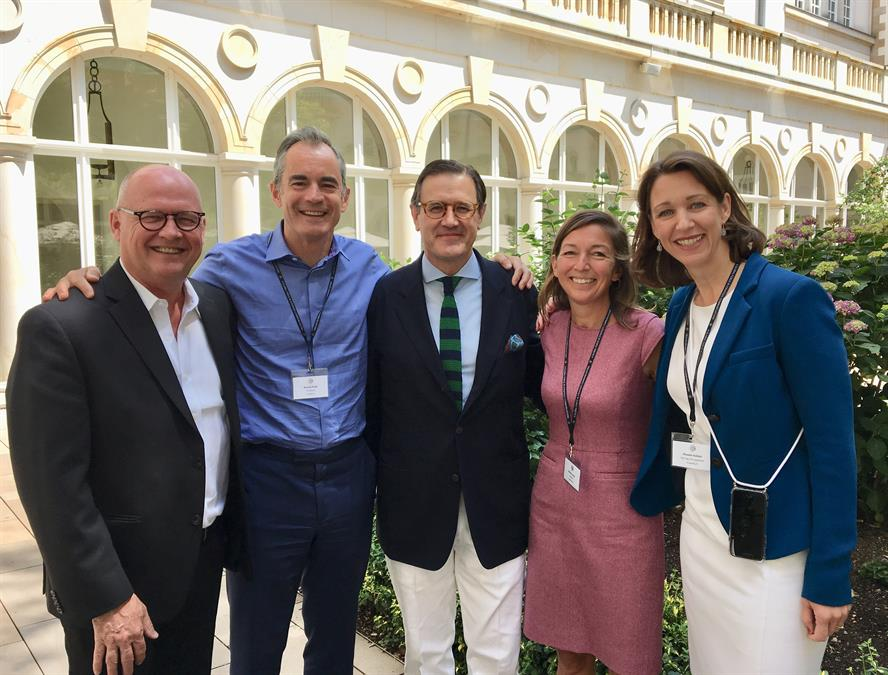 (Left to right): Joel Johnson, MD, The Glover Park Group; Roland Rudd, chairman, Finsbury; Jose Antonio Llorente, founding partner and president, LLYC; Winnie Lerner, managing partner, Finsbury; Dr Phoebe Kebbel, managing partner, Hering Schuppener