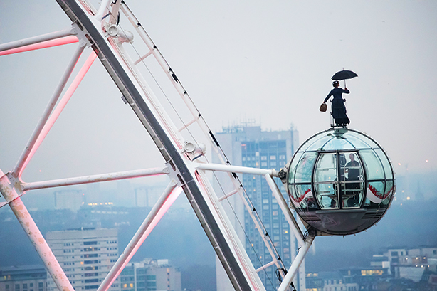 Mary Poppins paid a visit to the London Eye to promote her new movie