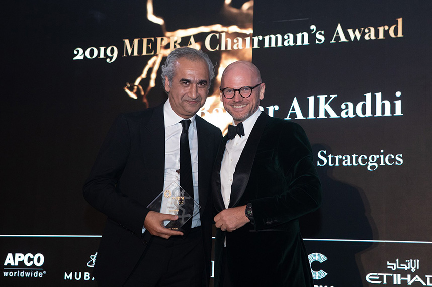 H+K Strategies CEO Bashar AlKadhi (left) collects the 2019 Chairman's award from Jonty Summers for his outstanding contribution to the industry