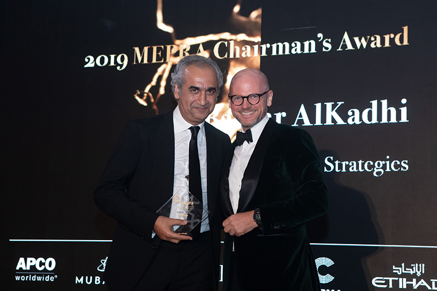 H+K METIA CEO Bashar AlKadhi being presented with the Chairman's Award at last year's gala ceremony