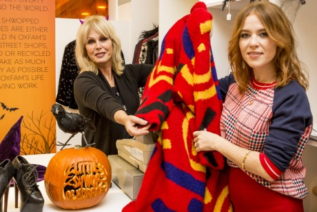 Joanna Lumley and Angela Scanlon: at the pop-up Halloween Shwop Shop