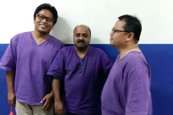 The three editors arrested last night: (L-R) Amin Iskandar, Lionel Morais and Zul Sulung. Picture by Geramm.
