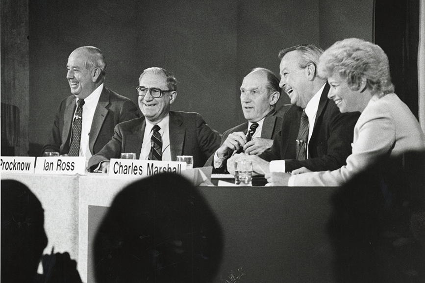 From left: Jim Olson, then AT&T Technologies vice chair, CEO; Don Procknow, AT&T Technologies vice chair; Bell Labs president Ian Ross; Chuck Marshall, AT&T vice chair and AT&T Information Systems chair; Marilyn, then AT&T Technologies VP of PR.
