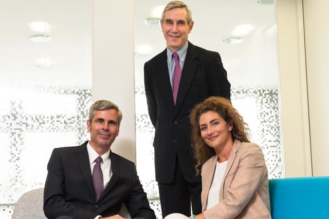 Edelman and ELAN: (l-r) Michael Stewart, Richard Edelman and Marion Darrieutort