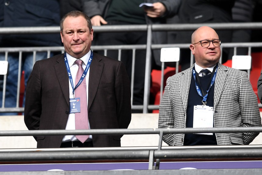 (L-R) Sports Direct CEO Mike Ashley, who also owns Newcastle United FC, with Lee Charnley, the club's MD, at a Premier League match