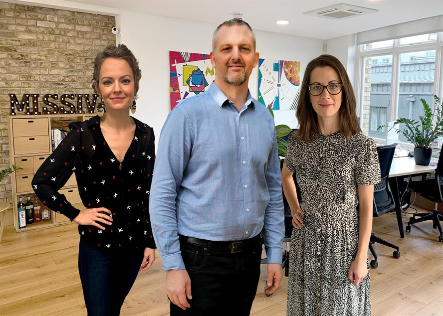 Missive team (left to right): Emma Ross, Giles Peddy and Nicola Koronka