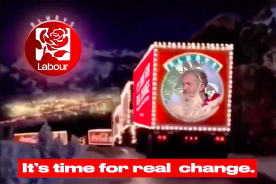 Momentum's fake Coca-Cola video ends with Jeremy Corbyn playing Santa Claus