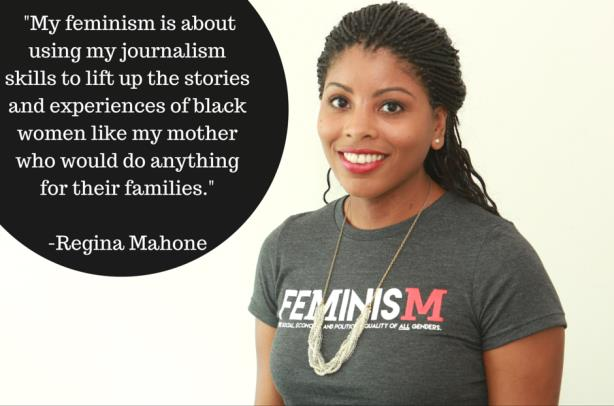 Writer Regina Mahone on behalf of the #MyFeminismIs campaign. (Image from the Ms. Foundation's Facebook page).