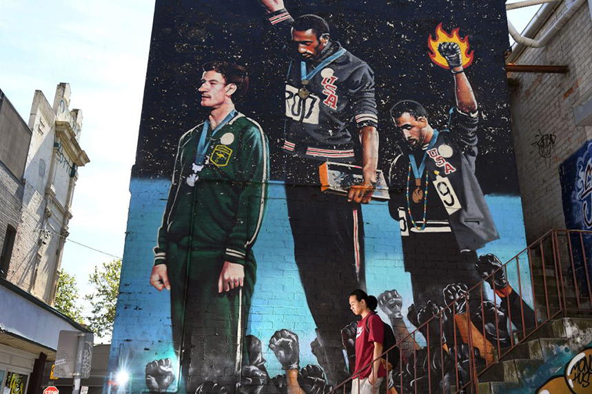 A mural of the seminal protests by US sprinters Tommie Smith and John Carlos at the 1968 Olympics (©GettyImages)
