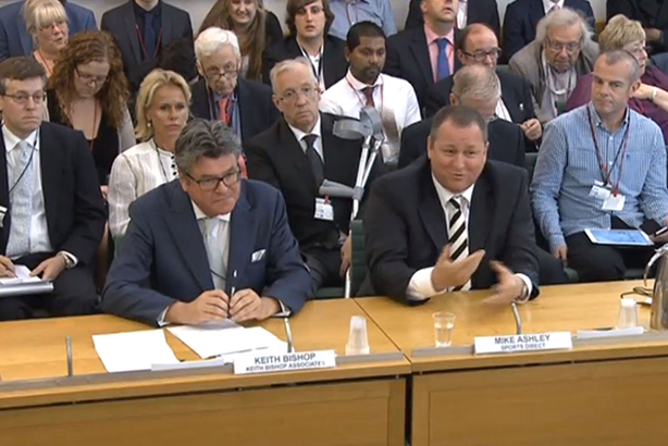 Mike Ashley (right) appears before the Select Committee with his PR adviser (pic credit:  PA/PA Wire/Press Association Images)