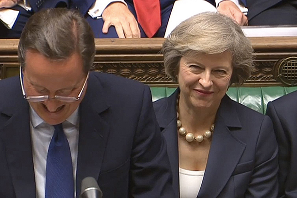 David Cameron in his final session of PMQs, with PM-in-waiting Theresa May (Pic credit: PAWire)