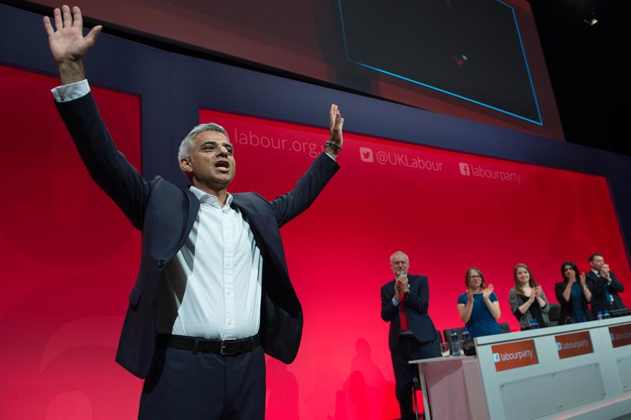 Mayor of London Sadiq Khan addresses the Labour Conference on Tuesday (Pic credit: Stefan Rousseau/PA Wire)