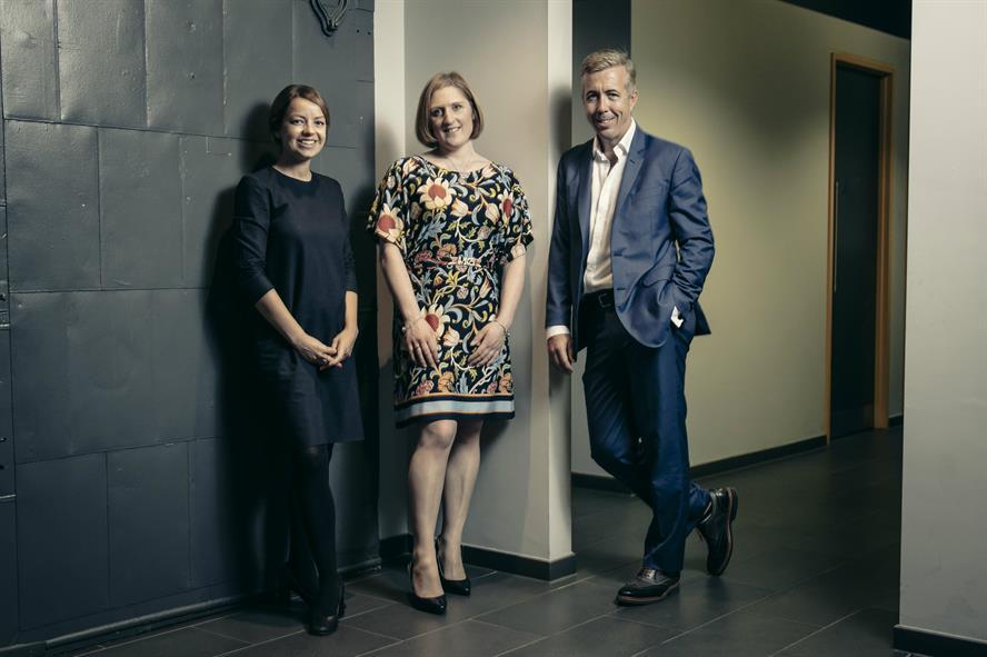 Acquisition: PLMR's Elin de Zoete (left) and Kevin Craig with Rebekah Paczek of Snapdragon