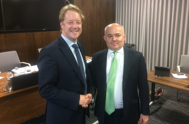 Bristow (l) takes on the mantle of chairman of the APPC from Glover (r)
