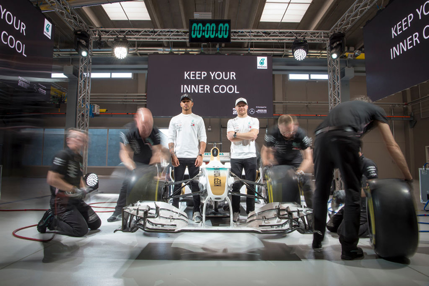 F1 drivers Lewis Hamilton and Valtteri Bottas attend the Launch Of Petronas Syntium Hybrid Performance Lubricants (Photo: Getty Images)