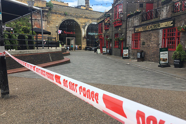 The Borough Market area has been cordoned off following the attack (@NahlahAyed Twitter)