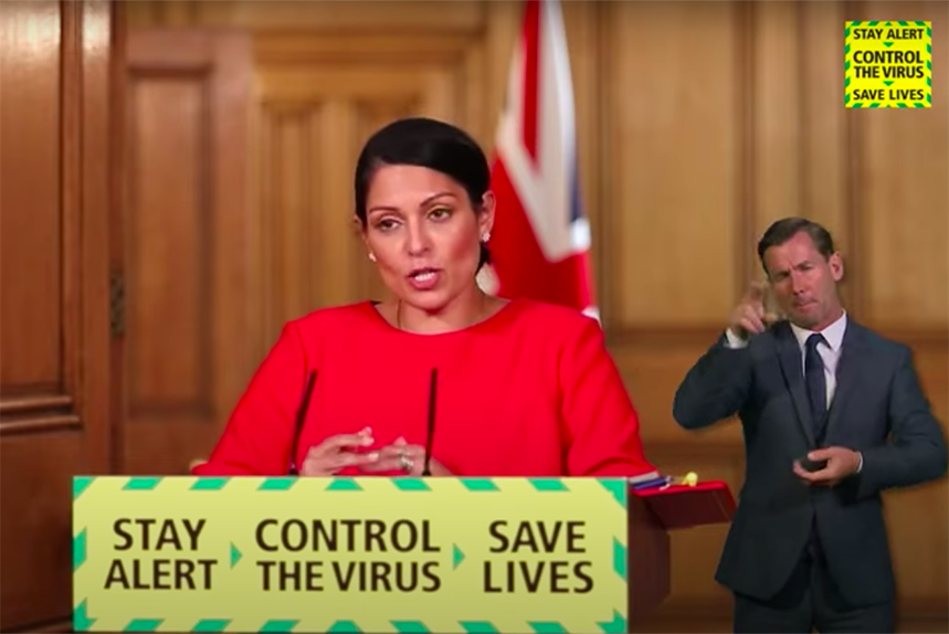 Priti Patel announces a blanket quarantine policy for travellers entering the UK on 22 May