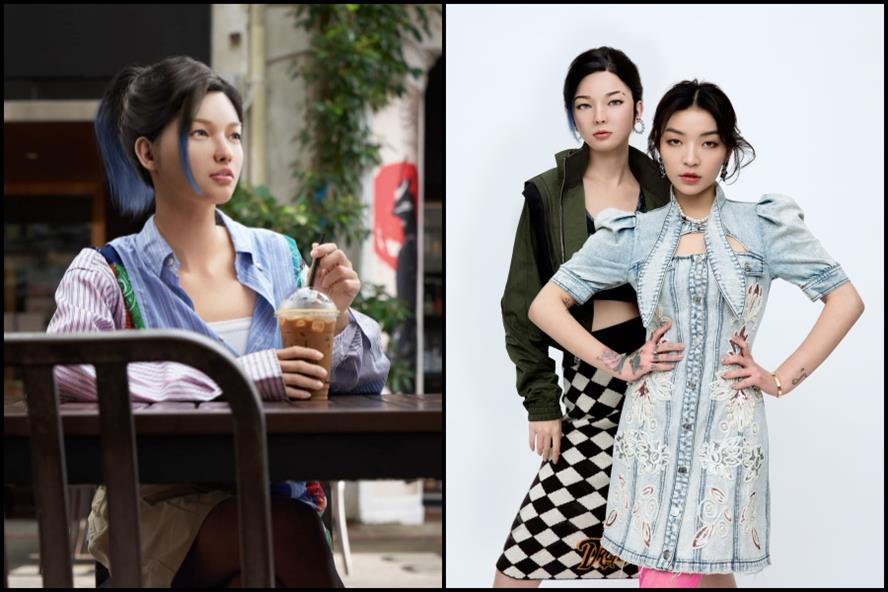 From left: Rae at a coffee shop; Rae and Chinese rapper VaVa at a photoshoot