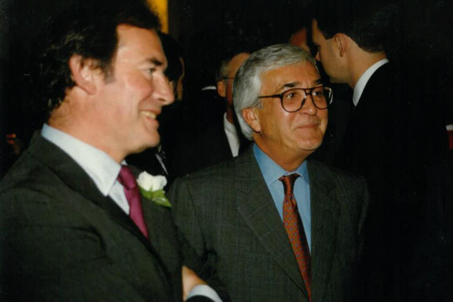 Roddy Dewe, pictured centre right with his late business partner Nico Rogerson