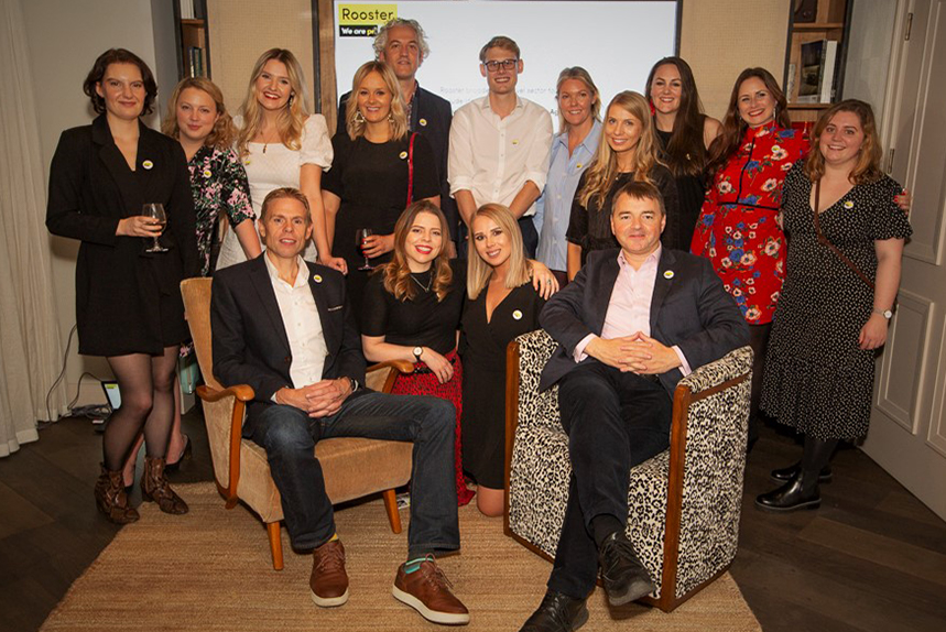 The Rooster team at their 20th anniversary party in London