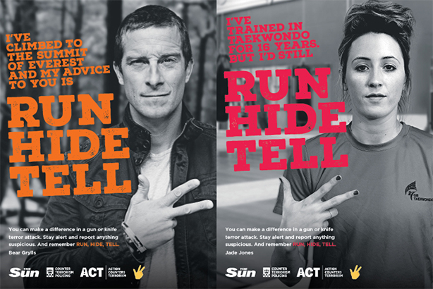 The powerful 'Run, Hide, tell' messaging campaign has been adapted to reach young people